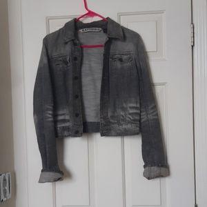 Grey distressed jean jacket & matching skirt
